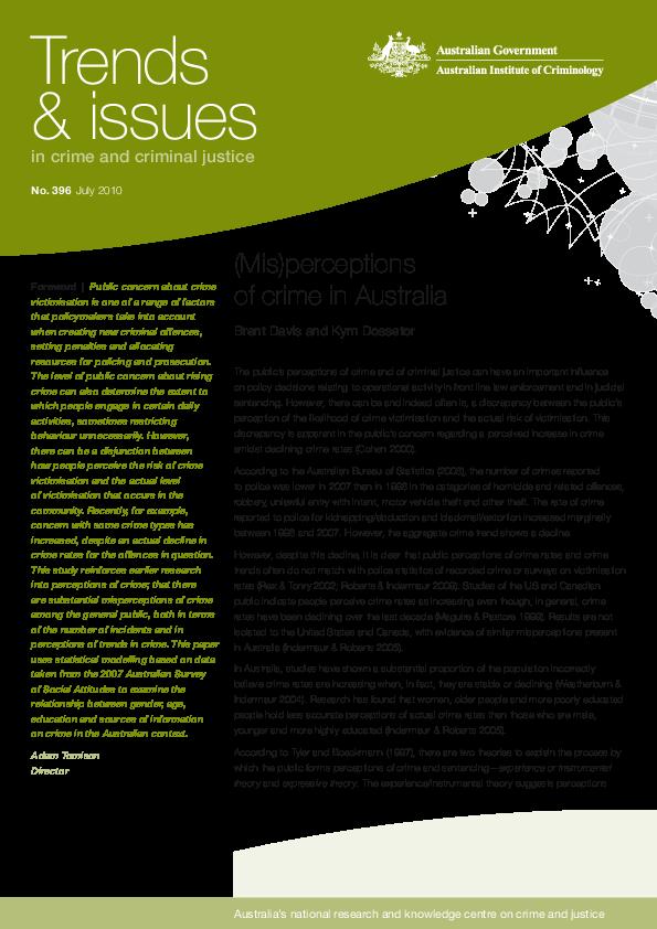 PDF) tandi396 (Mis)perceptions of crime in Australia pdf
