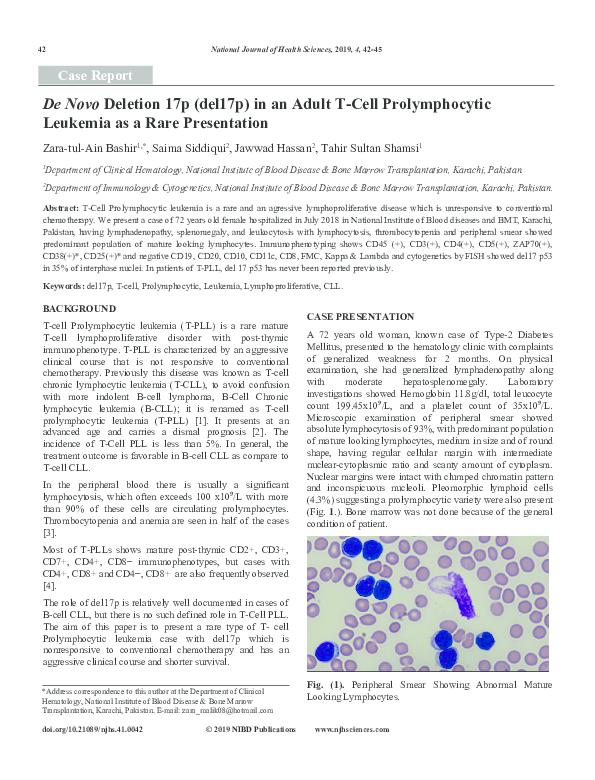 PDF) De Novo Deletion 17p (del17p) in an Adult T-Cell Prolymphocytic