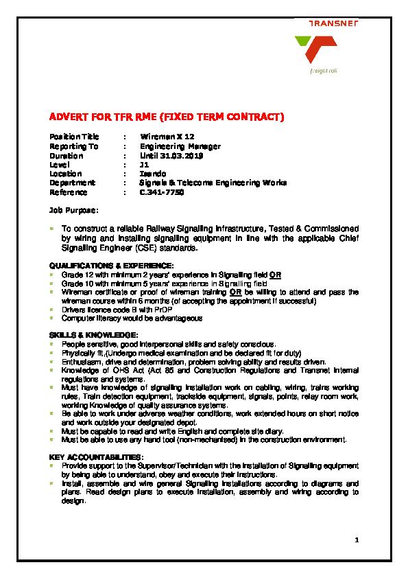 PDF) Advert- Wireman updated | Siphiwe Lukhozi - Academia edu