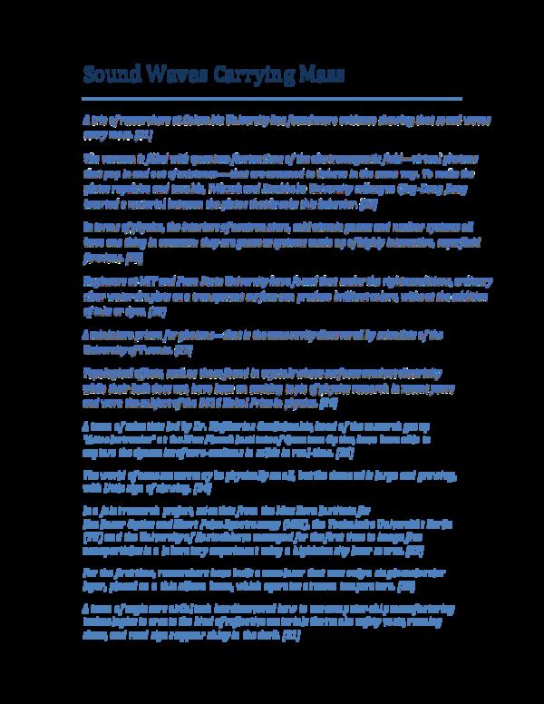 PDF) Sound Waves Carrying Mass | George Rajna - Academia edu