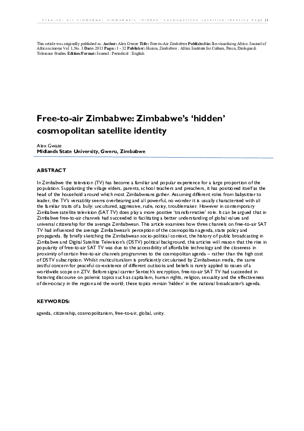 PDF) Free-to-air Zimbabwe: Zimbabwe's 'hidden' cosmopolitan
