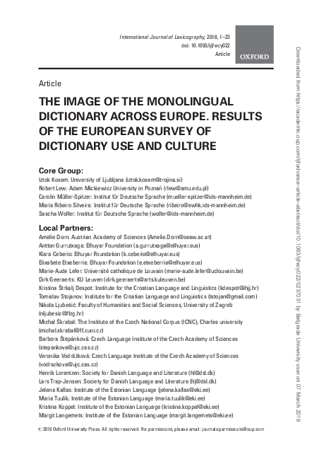 PDF) THE IMAGE OF THE MONOLINGUAL DICTIONARY ACROSS EUROPE