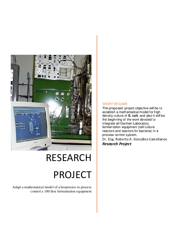 PDF) Adapt a mathematical model of a bioprocess to process control a