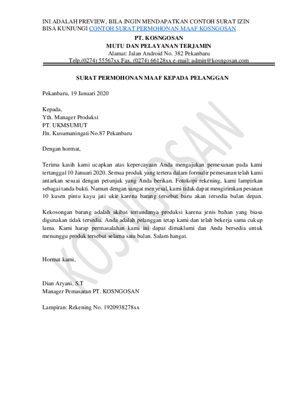 Pdf Surat Permohonan Maaf Perusahaanpdf Reza Harahap