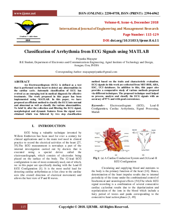 PDF) Classification of Arrhythmia from ECG Signals using