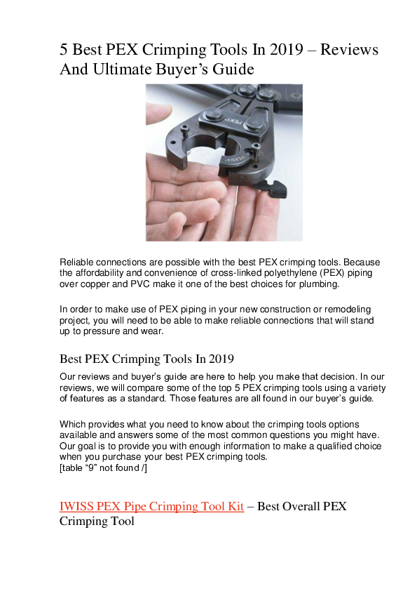 PDF) IWISS PEX Pipe Crimping Tool Kit -Best Overall PEX Crimping