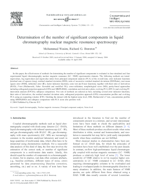 PDF) Determination of the number of significant components