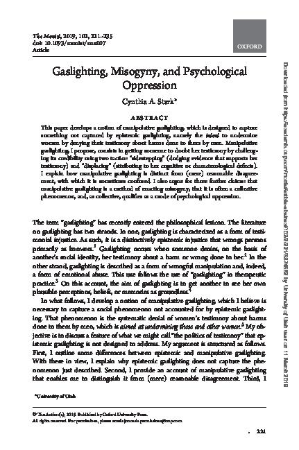 PDF) Gaslighting, Misogyny, and Psychological Oppression | Cynthia A