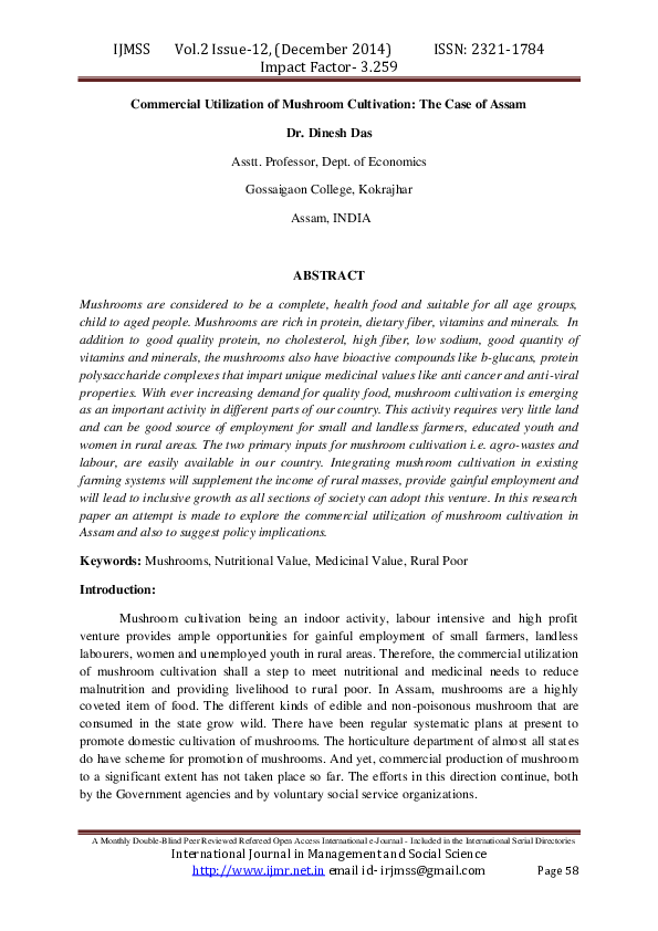 PDF) Commercial Utilization of Mushroom Cultivation: The Case of