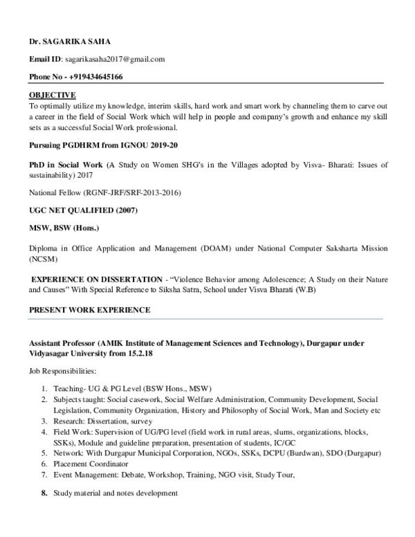 PDF) Sagarika Saha CV latest by 4 3 2019 | Dr  Sagarika Saha
