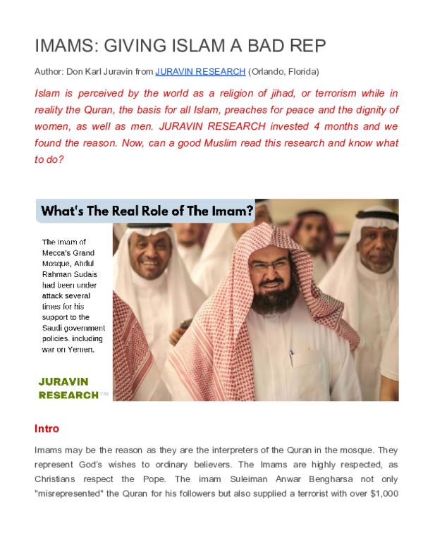 PDF) IMAMS: GIVING ISLAM A BAD REP | JURAVIN RESEARCH (Don Juravin