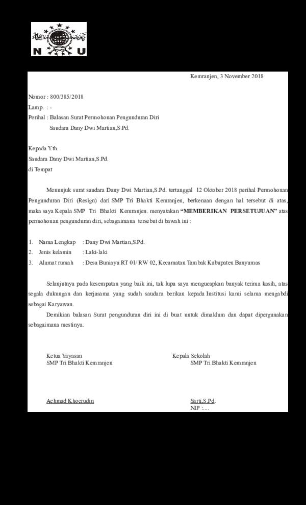 Surat Pengunduran Diri Organisasi Doc - Guru Ilmu Sosial