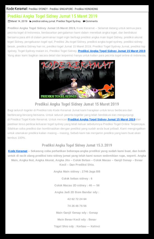 PDF) Prediksi Angka Togel Sidney Jumat 15 Maret 2019 | KODEKERAMAT