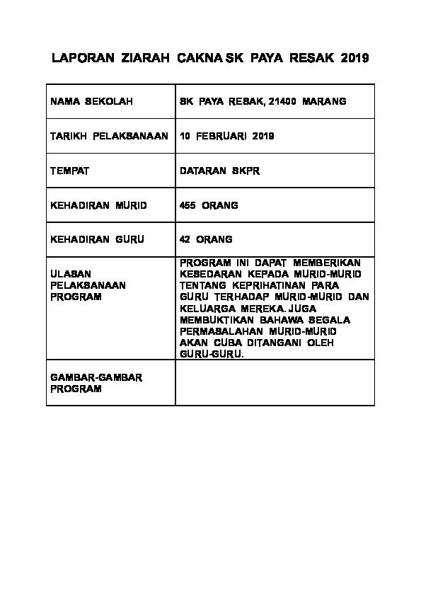 Doc Laporan Ziarah Cakna Sk Paya Resak 2019 Docx Khairul Anuar Abdul Ghani Academia Edu