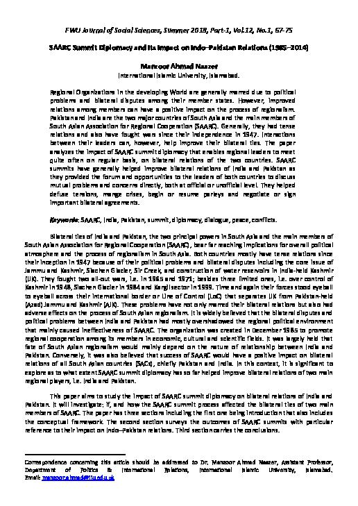 PDF) SAARC Summit Diplomacy and Its Impact on Indo Pakistan