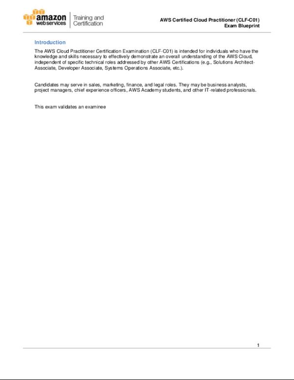 PDF) AWS Certified Cloud Practitioner (CLF-C01) Exam Blueprint 1