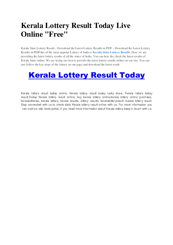 PDF) Kerala Lottery Guessing Number Today and Tips *Free