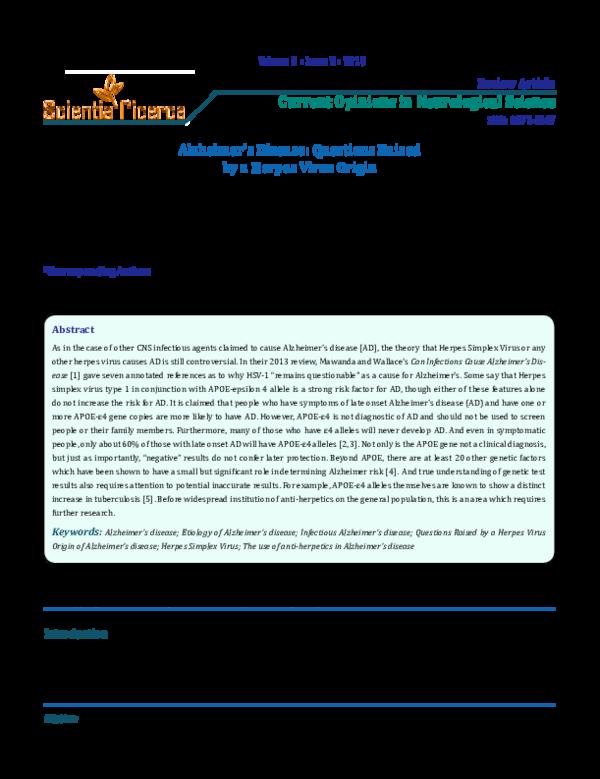 PDF) Alzheimer's Disease: Questions Raised by a Herpes Virus Origin