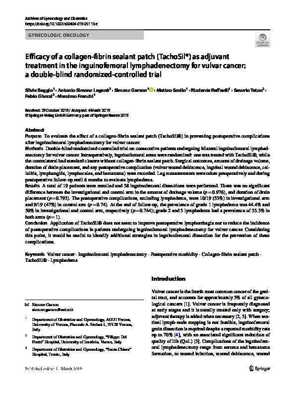 PDF) Efficacy of a collagen-fibrin sealant patch (TachoSil®) as