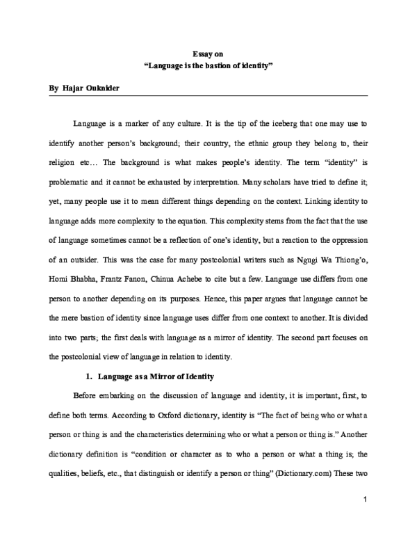 pdf essay on language is the bastion of identity  hajar ouknider  pdf