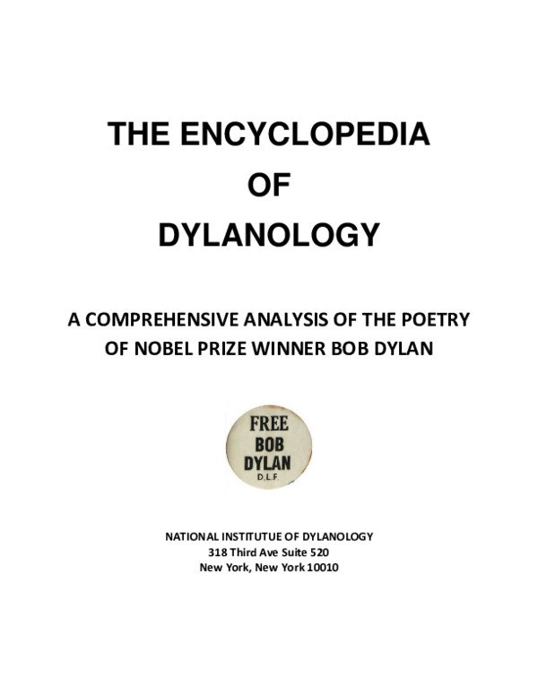 PDF) ENCYCLOPEDIA DYLANOLOGICA | AJ Weberman - Academia edu