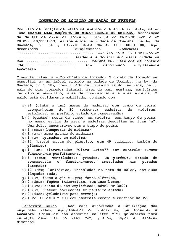Doc Contrato Modelo Terceiros 2019 Salão Festas Palácio