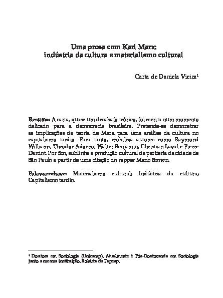 PDF) Uma prosa com Karl Marx: indústria da cultura e