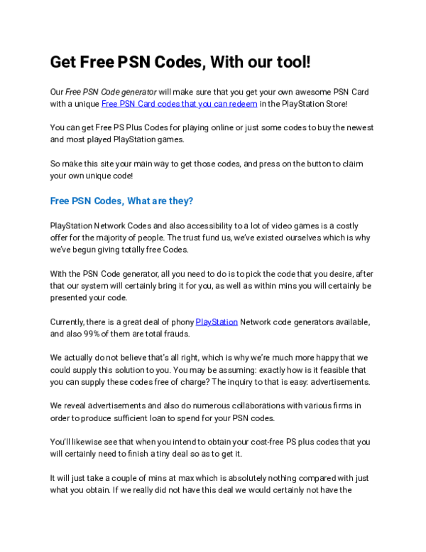 PDF) Get Free PSN Codes, With our tool | Aaron Carey