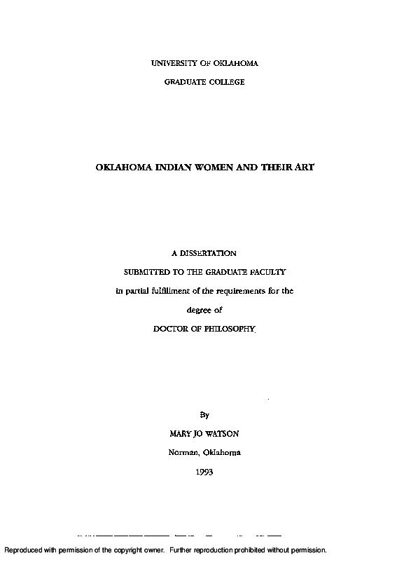 828a46480 PDF) Oklahoma Indian Women and Their Art | Mary Jo Watson - Academia.edu