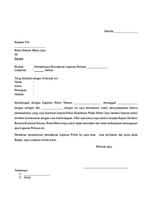 Pdf Surat Permohonan Pencabutan Laporan Kepolisian Pdf Elisma