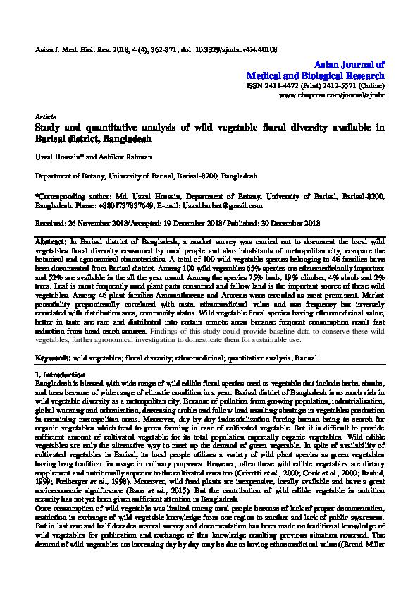 PDF) Study and quantitative analysis of wild vegetable