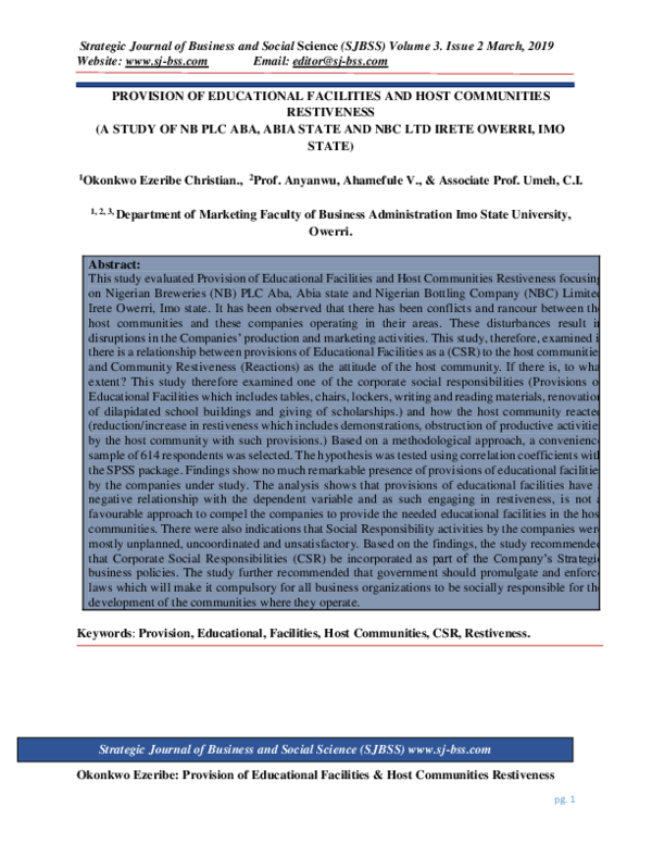 PDF) StratPROVISION OF EDUCATIONAL FACILITIES AND HOST COMMUNITIES