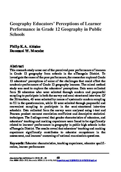 PDF) Geography Educators' Perceptions of Learner Performance