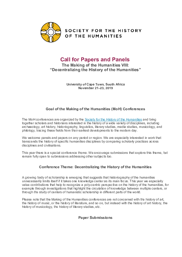 PDF) Call for Papers The Making of the Humanities VIII