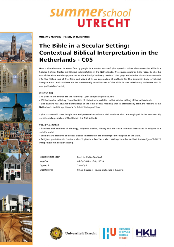 PDF) Summer School - The Bible in a Secular Setting: Contextual