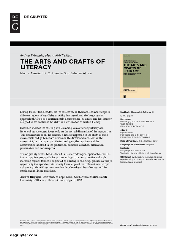 PDF) The Arts and Crafts of Literacy: Islamic Manuscript