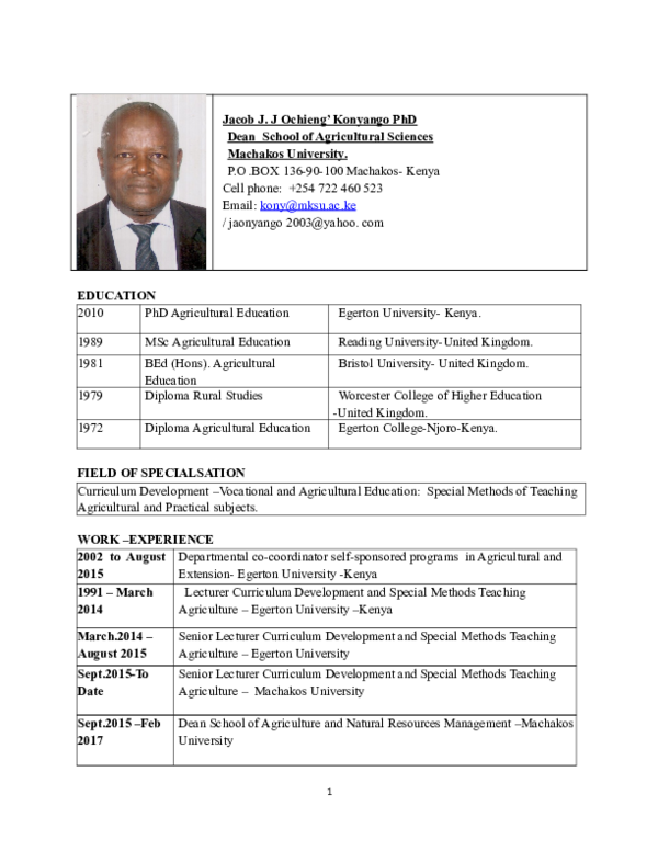 DOC) KONYANGO UPDATED PROFILE | Jacob J J O Konyango - Academia edu