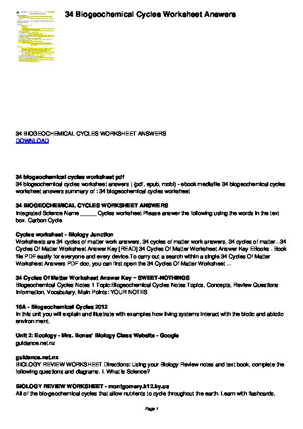 PDF) 34 Biogeochemical Cycles Worksheet Answers | foon tage ...