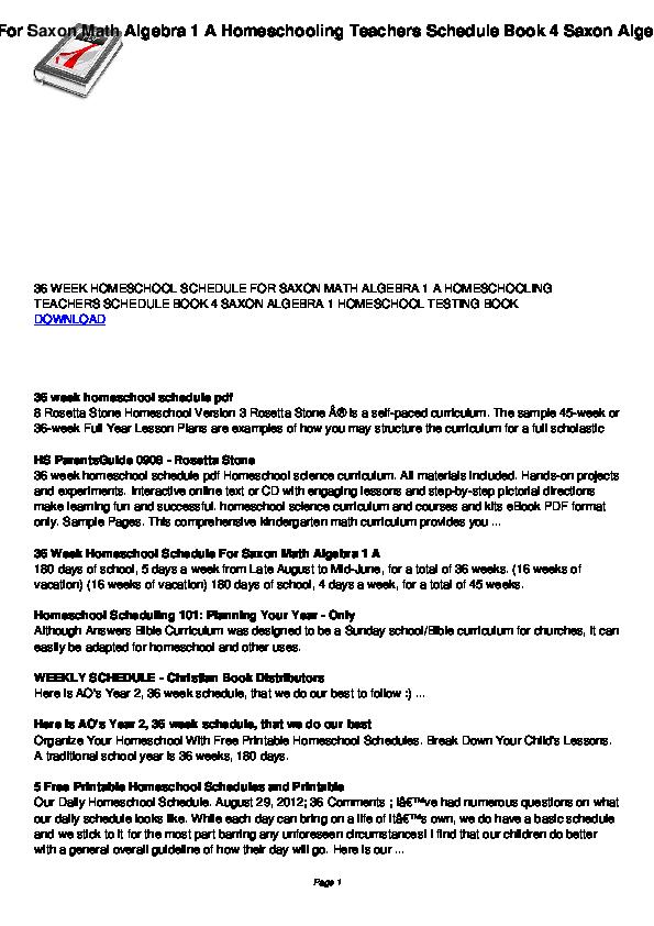 graphic regarding Printable Homeschool Schedule identify PDF) 36 7 days homeschool agenda for saxon math algebra 1 a