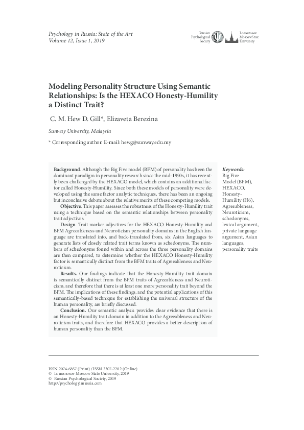 PDF) Modeling Personality Structure Using Semantic