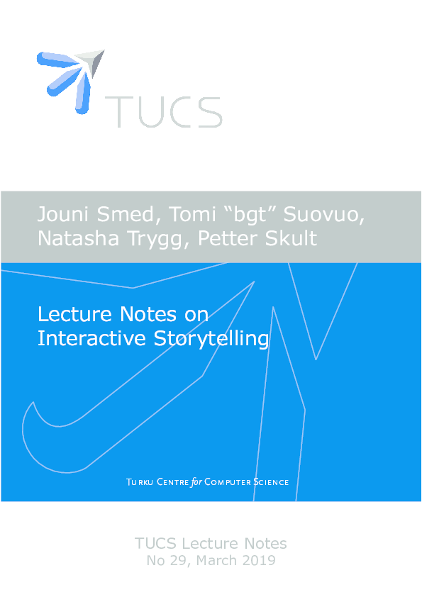 PDF) Lecture Notes on Interactive Storytelling | Jouni Smed