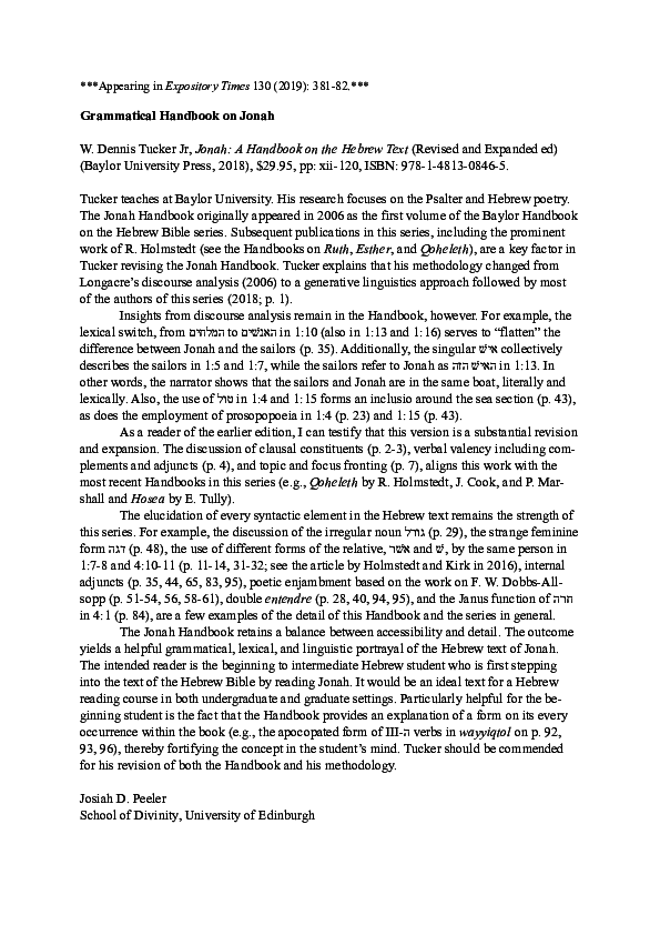 Jonah A Handbook on the Hebrew Text