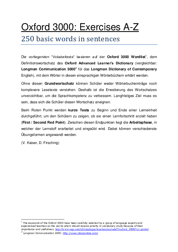 PDF) Oxford 3000: Exercises A-Z 250 basic words in sentences
