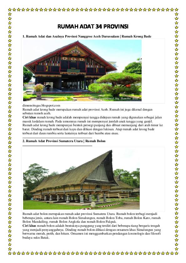 Doc Rumah Adat 34 Provinsi Gambar Dan Ciri Khas Bidenk Erz Academia Edu