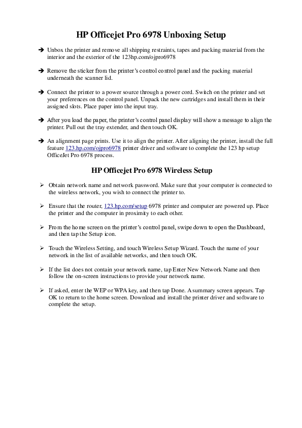 PDF) HP Officejet Pro 6978 Unboxing Setup | Printer Tips