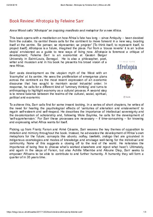 PDF) Afrotopia, by Felwine Sarr | Anna Wood - Academia edu