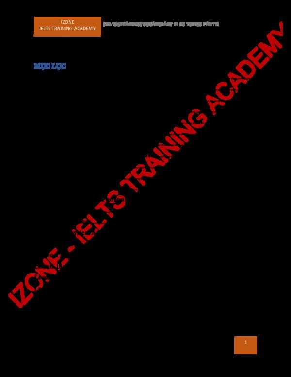 PDF) IZONE IELTS TRAINING ACADEMY [IELTS SPEAKING