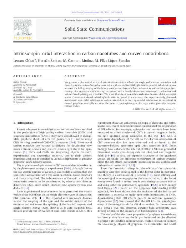 PDF) Intrinsic spin–orbit interaction in carbon nanotubes
