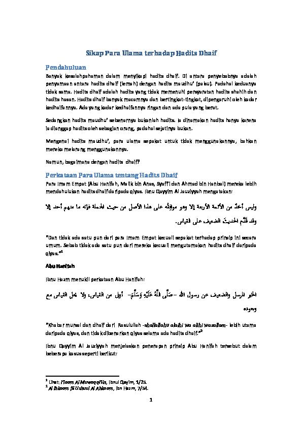 Contoh Hadits Dhaif Mursal 16