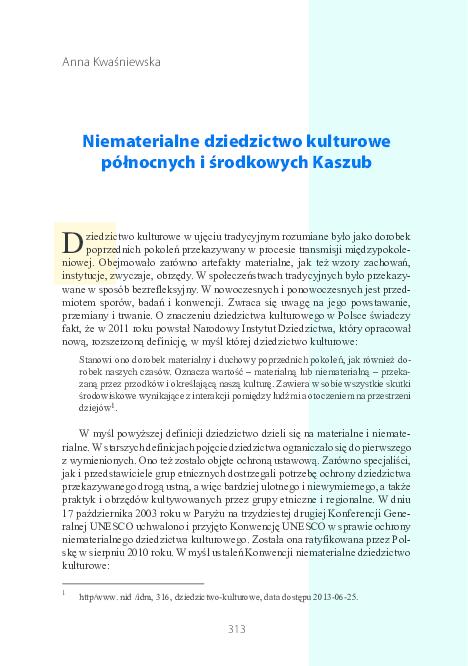 Pdf Niematerialne Dziedzictwo Kulturowe Północnych I